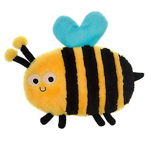 Top Paw Black And Yellow Bumble Bee Flattie Crinkle Dog Toy Do