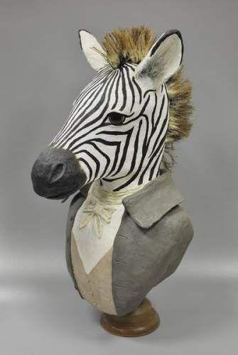 T te z bre en papier mach troph es pinterest art for Idee deco zebre