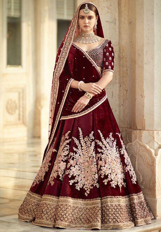 Velvet Lehnga By Sabhyasachi Indian Bridal Dress Bridal Lehenga Red Indian Bridal Outfits