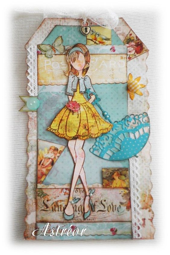 Well done with the vertical paper piecing and  the bright unbrella.