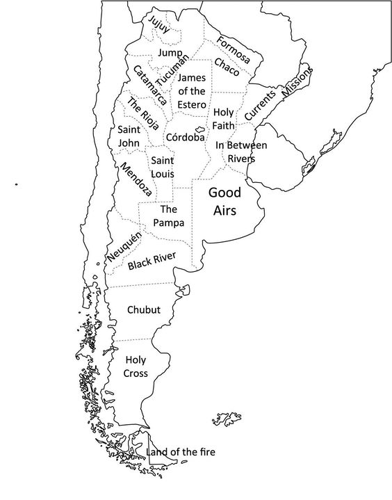 Map Of Argentina With Its Provinces Literally Translated To - Argentina map meaning