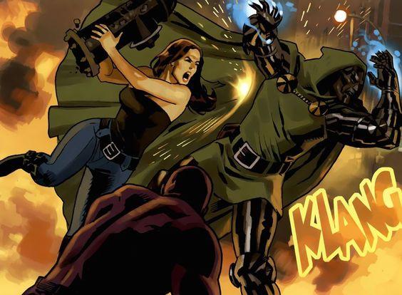 Jessica Jones hitting Doctor Doom   New Avengers Vol. 2 #8