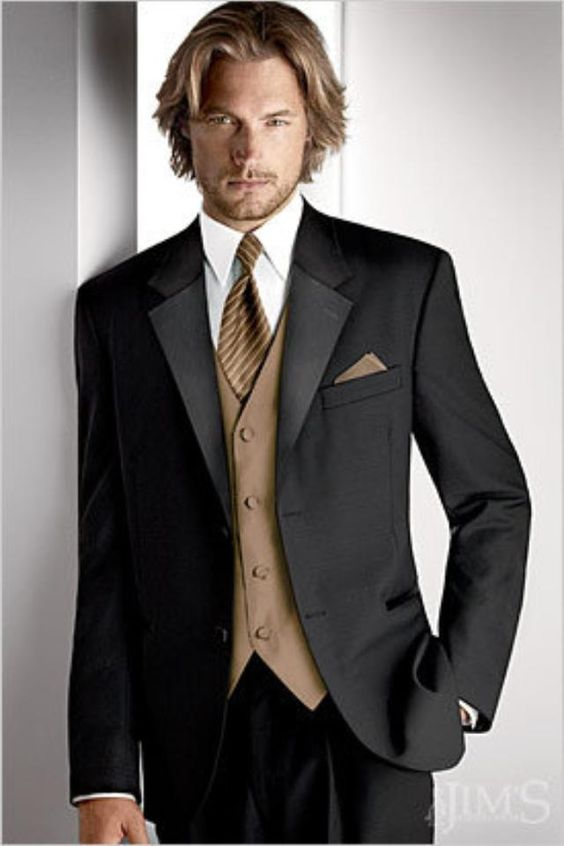 Black suit with tan vest and tie. #wedding | Tuxedos | Pinterest ...