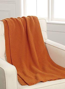 Orange textured knit throw 130 x 150 cm - Throws | Simons