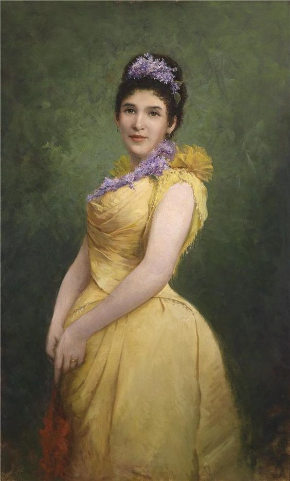 """Lady in a Yellow Dress and a Lilac in her Hair"" by Adolf Echtler (1894)"
