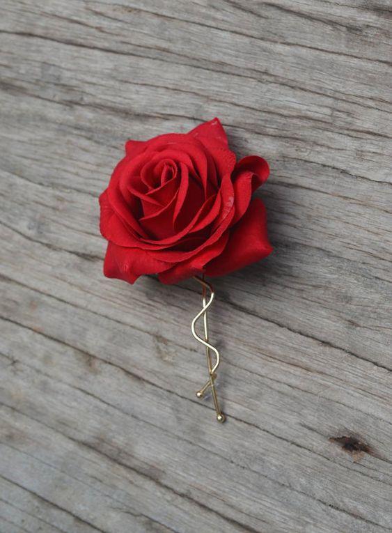 Mariage fleur barrette Clip-Real Touch rouge Rose cheveux, pinces à cheveux Rose, cheveux Bridal fleur, cheveux de fille de fleur broche