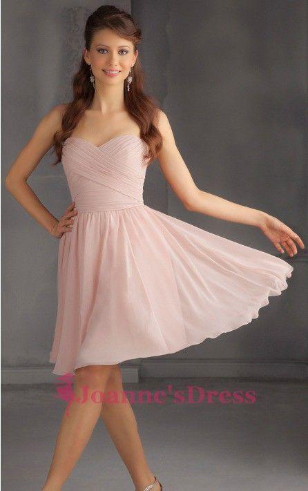 Pearl Pink Short Sweetheart Chiffon Bridesmaid Gown