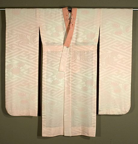 Japanese Juban  1960s.  Patterned silk satin under kimono that shades from ivory to pale pink.  Embroidered lapels