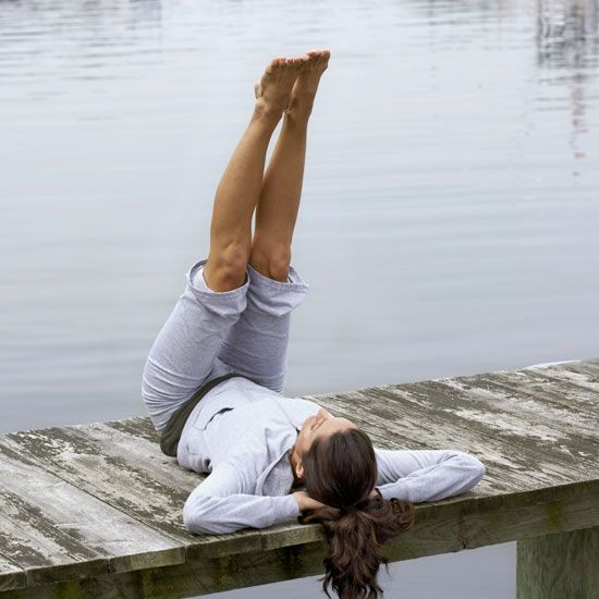Pilates Alphabet - lie on the ground, raise your legs and write the alphabet in the air with your feet.