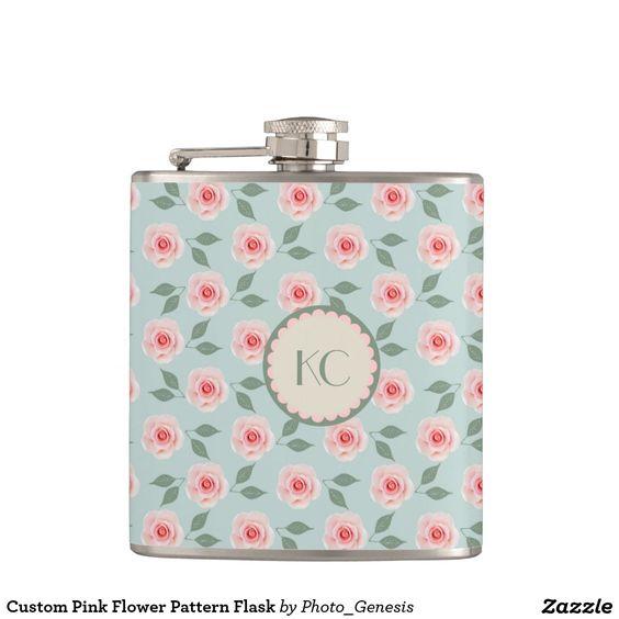 Custom Pink Flower Pattern Flask