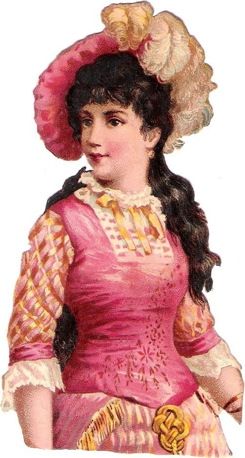 Oblaten Glanzbild scrap die cut chromo Dame lady girl beauty Federhut Mädchen: