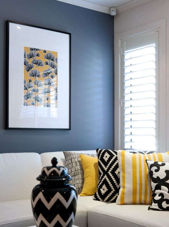 A Look At Cathy Elsmoreu0027s Black, Yellow And White Living Room | Limes,  Pillows And Room Part 85