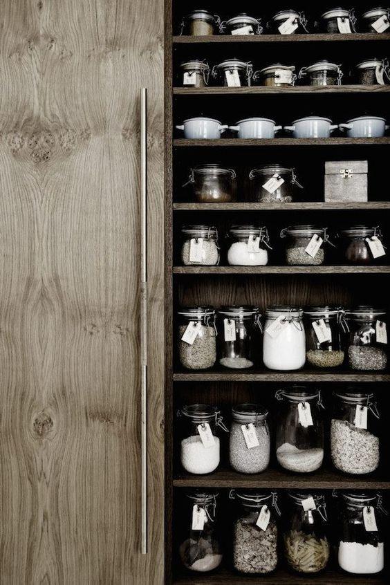 Storage jars in the kitchen of Danish carpenter and designer Kim Dolva of…