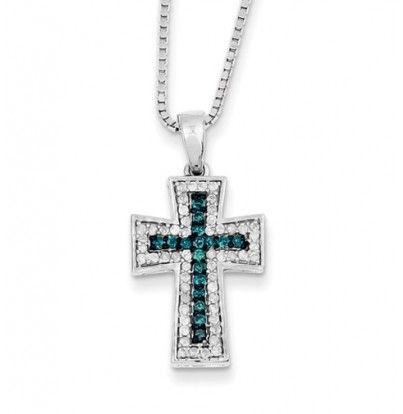 Sterling Silver Blue & White Diamond Pendant #Necklace