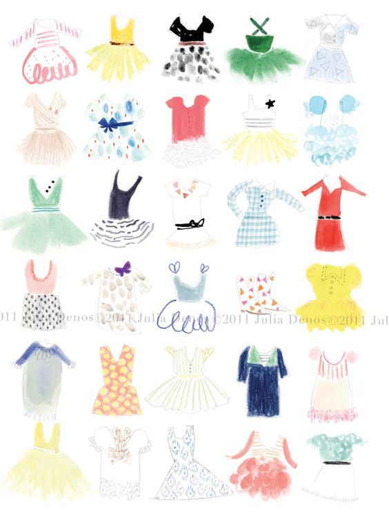"""little dresses"".  open edition print by julia denos."