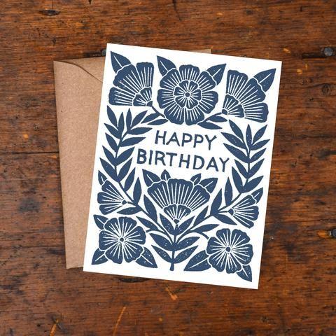 Happy Birthday Block Printed Greeting Cards Print Greeting Cards Greeting Card Illustration Linocut Prints
