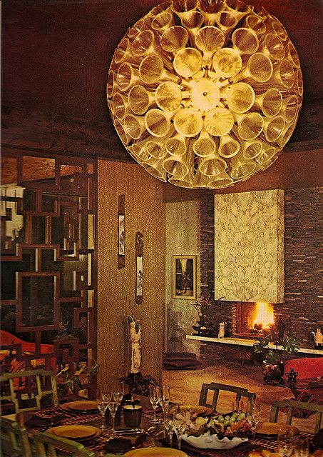 """1970s Architectural Digest.  I recently say houses with these type of """"room dividers"""" that were still up.  Notice the stacked stone look is back.  Hopefully the lamp will never be.... :)"""