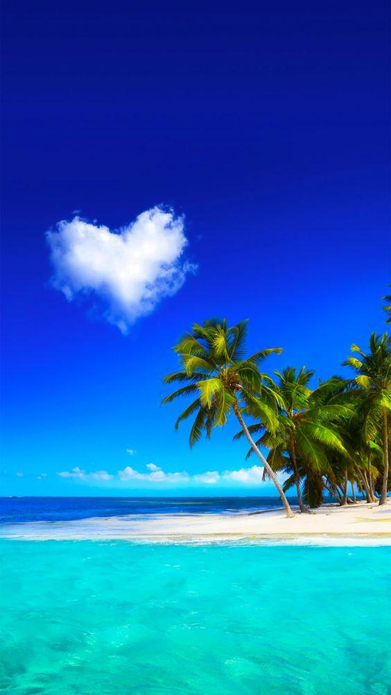【新着6位】美しいビーチとハート型の雲   iPhoneX,スマホ壁紙/待受画像ギャラリー