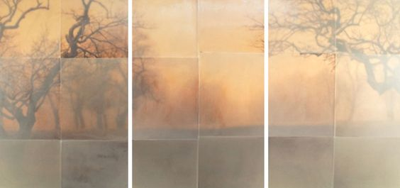 TOM BRYDELSKY - THE JOURNEY ELSEWHERE - ENCAUSTIC OVER ARCHIVAL PRINT - 32 X 75 INCHES
