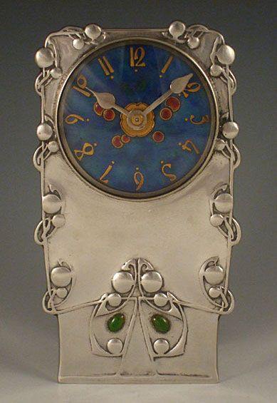 Liberty & Co. Pewter & Enamel Clock 0608 - Archibald Knox - Arts & Crafts