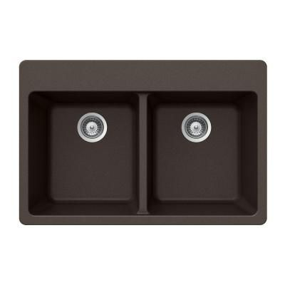 Houzer Quartztone Top Mount Composite Granite 33 in. Double Bowl Kitchen Sink in Mocha
