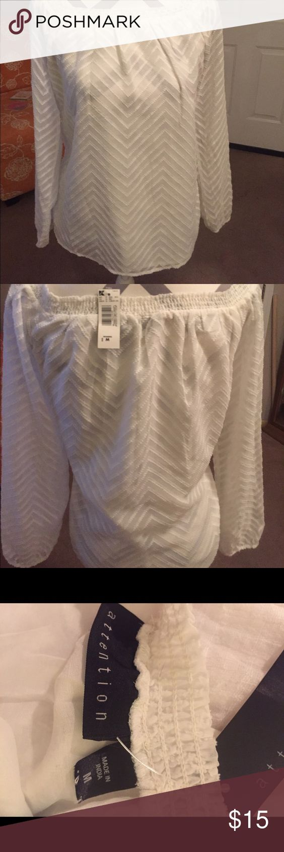 Attention Boho top Attention Boho top       size Medium     never worn   White attention Tops Blouses