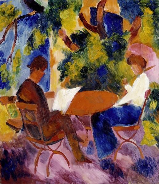 At The Garden Table, Auguste Macke. German Expressionist Painter (1887 - 1914)
