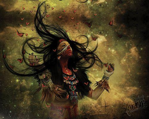 Coatlicue: Ella dio a luz a Huitzilopochtli luego de que una pluma se le metiera en el vientre mientras estaba barriendo sobre el Coatepec (Cerro de la Serpiente). Ese embarazo misterioso ofendió a sus otros cuatrocientos hijos (los Centzon Huitznáhuac) que, instigados por su hermana Coyolxauhqui, decidieron matar a su deshonrada madre. Así lo hicieron, pero Huitzilopochtli salió de la matriz (o el estómago) de su madre armado completamente y acabó con sus hermanos y hermanas estrellas...