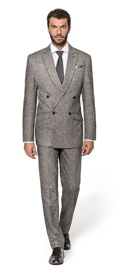 Grey Double breasted tweed Suit http://www.tailor4less.com/en-us