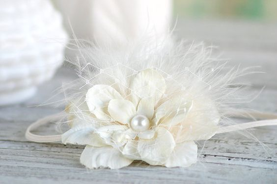 Creamy Ivory Flower Headband with Vintage by PrimCoutureShop, $9.95