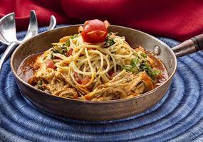Espaguetis con pollo Receta colombiana