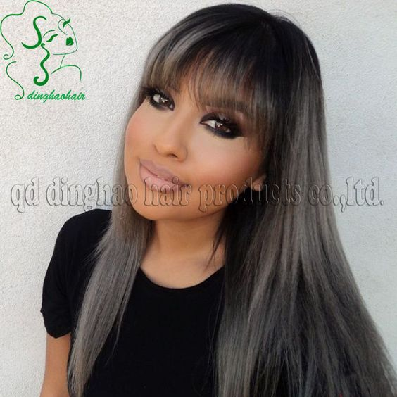 Hotsale dark silver grey ombre lace front human hair wigs ...