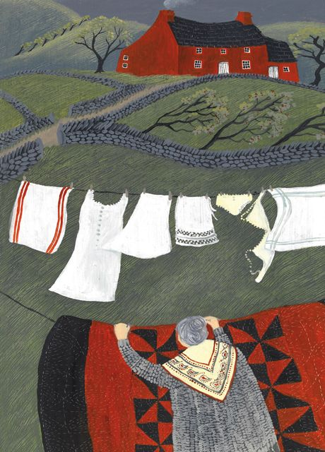 'The Red Quilt' By Painter Valeriane Leblond. Blank Art Cards By Green Pebble. www.greenpebble.co.uk