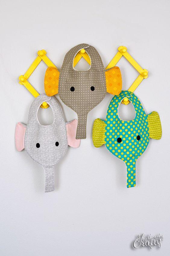 Elephant Bib & Binkie Holder Pattern/Tutorial by Stubbornly Crafty *freebie