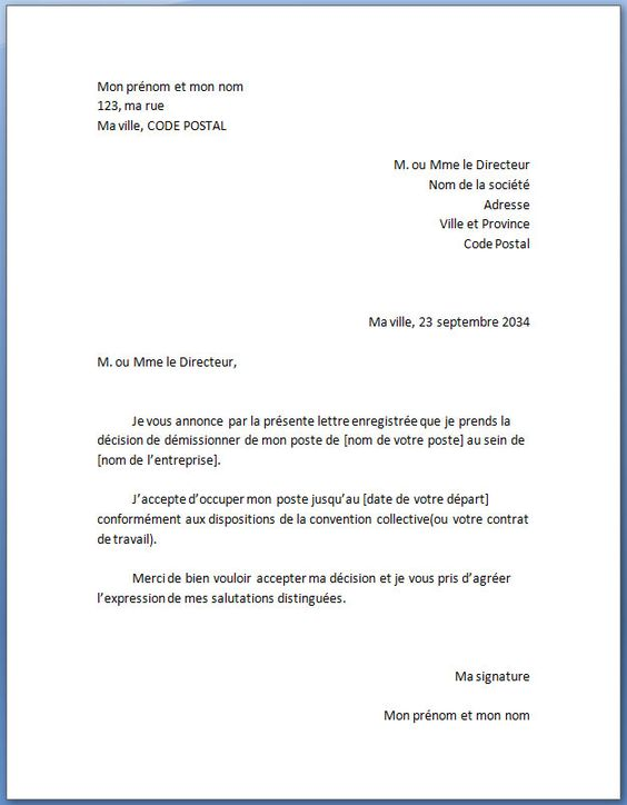Exemple de lettre de démission type standard