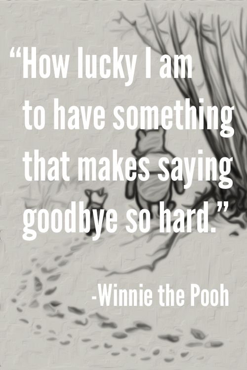 How lucky I am to have something that makes saying goodbye so hard. – Winnie the Pooh  #goodbye Missing You: 22 Honest Quotes About Grief