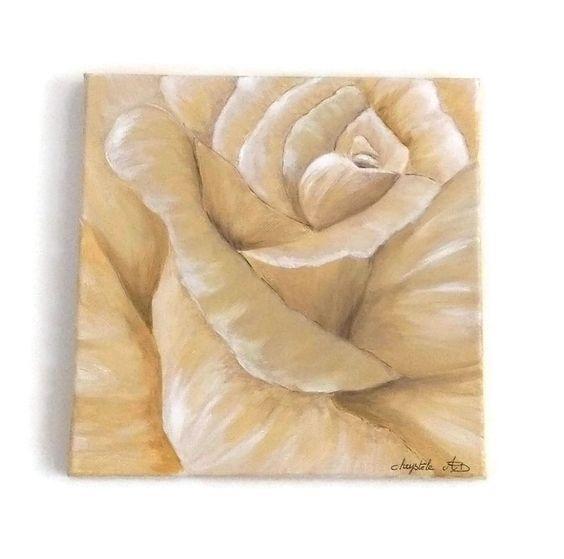 Rose peinte en nuances de beige (2) : Peintures par kikry-art