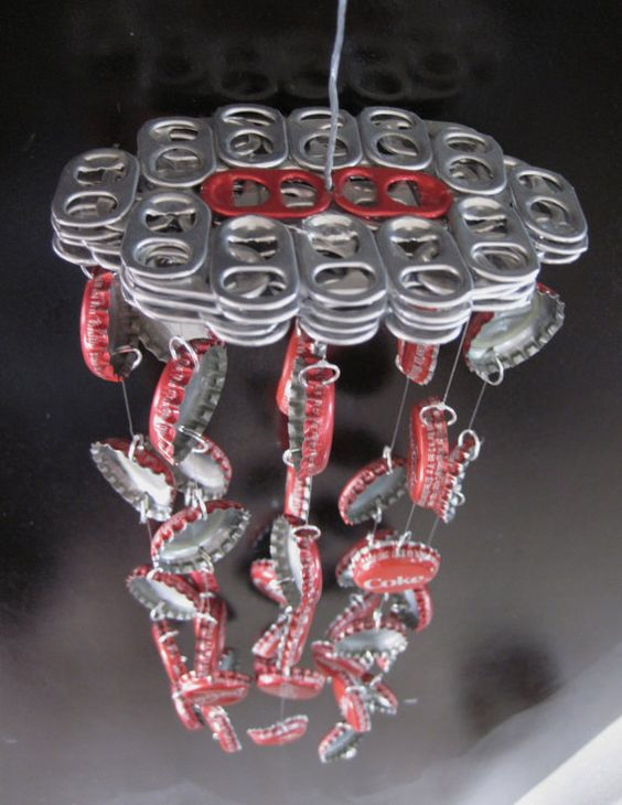 Red soda themed coca cola bottle cap wind chime sodas for Bottle cap wind chime