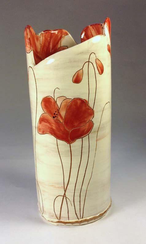 Large red poppy vase by pennyspottery on Etsy