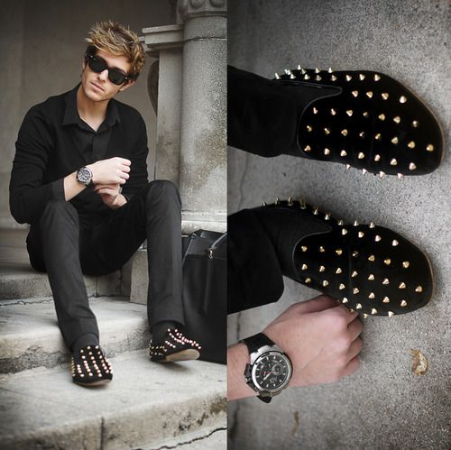 mens studded loafers