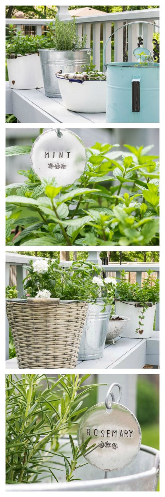 Plant a low maintenance herb garden in vintage containers. Use anything you have on hand from a metal bucket to an old watering can!