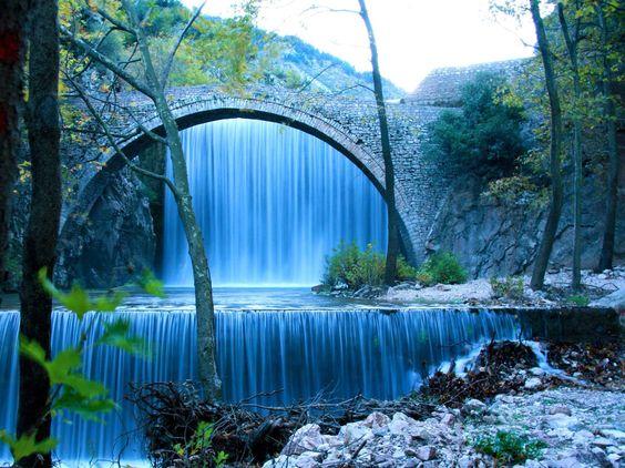 Bridge, waterfall