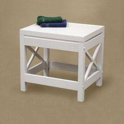 Sourcing Solutions X-Frame Bathroom Stool, White Finish by Sourcing Solutions. $43.44. Coordinates with matching X-Frame Bathroom Towel Tower, Bathroom Wall Shelf, and/or Bathroom SpaceSaver (sold separately). Modern X-Frame design. Perfect for a stool or additional shelf space. 13-inch L by 16-inch D by 15-inch H. Can be used in the bathroom or any other room in the house. X-Frame Bathroom Stool is perfect for a stool, or for additional shelf space.  Coordinates with...