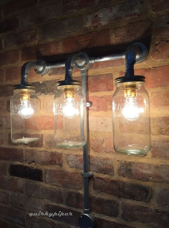 Kilner Jar Wall Lights : Wall lights, Kilner jars and Cafe bar on Pinterest