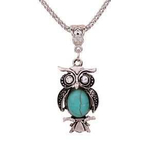 Retro Vintage  Turquoise Pendant Chain Necklace Owl Crystal Eyes Fashion Jewelry