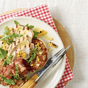 Grilled Chicken with Fresh Corn Cakes | MyRecipes.com