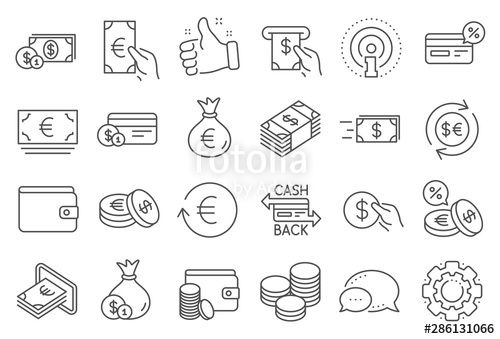 money wallet line icons set of credit card cash and coins icons banking currency exchange and cashback service wal in 2020 credit card icon coin icon dollar money pinterest