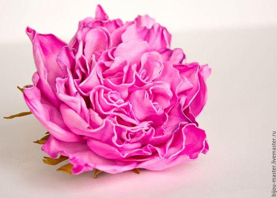 Купить Заколка-брошь Charlotte - розовый, пионовидная роза, цветы из фоамирана, заколка с розами, фом