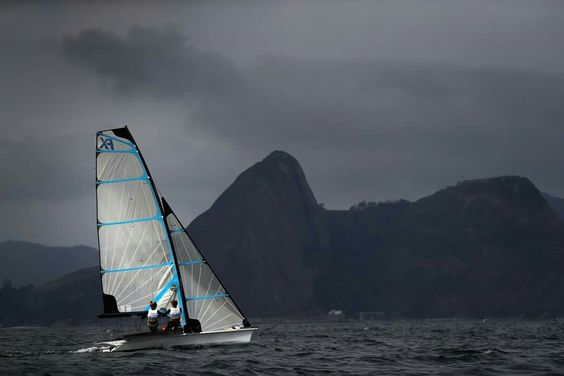 RIO DE JANEIRO, BRAZIL - AUGUST 07: Charlotte Dobson and Sophie Ainsworth of Great Britain in action on board their 49er FX class skiff during training at Marina da Gloria on August 7, 2016 in Rio de Janeiro, Brazil. (Photo by Clive Mason/Getty Images)