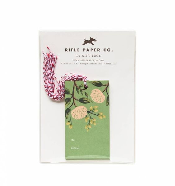 Emerald Peonies Package of 10 Gift Tags & Tag Ties